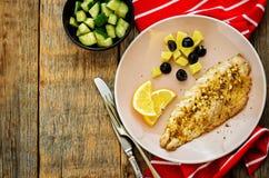 Mackerel with garlic and lemon marinated. Moroccan dish. Stock Photos