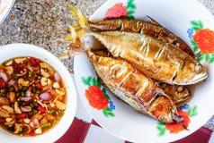 Mackerel grill. With savory fish sauce Royalty Free Stock Photos