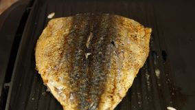 mackerel grillad fisk Fisk i gallret Kocken lagar mat fisken stock video