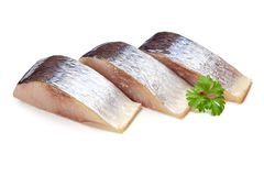 Mackerel with herbs isolated on white background Stock Photo