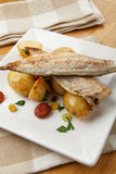 Mackerel meal. Mackerel with potato and chorizo salad Stock Image