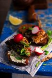 Mackerel sandwich grill with horseradish sauce stock images