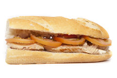 Mackerel sandwich with tomato and mayonnaise Stock Photos