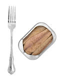Mackerel skinless fillets with olive oil in a tin Royalty Free Stock Photo