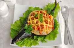 Mackerel stuffed with vegetables and cheese Royalty Free Stock Image
