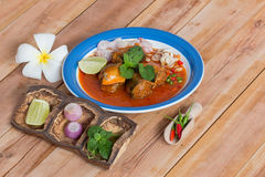 Mackerel thai dress salad Stock Photos