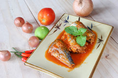 Mackerel in tomato sauce on plate Stock Image