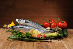 Mackerel and vegetables Stock Photos