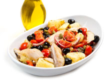 Mackerels with potatoes,tomatoes,capers Stock Photography