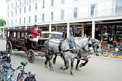 Mackiinac Island, Michigan, Bikes and Horses Royalty Free Stock Photography