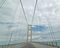 Mackinac吊桥,上部半岛, MI 免版税库存照片