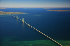 Mackinac bridge. Front light aerial view of the mackinac bridge and straits of mackinac and mackinac island and St Ignace Stock Photography