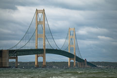 Mackinac Bridge. Suspension bridge spanning the Straits of Mackinac to connect the non-contiguous Upper and Lower peninsulas of the U.S. state of Michigan Royalty Free Stock Images