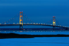 Mackinac Bridge at Blue Hour - Michigan USA Stock Image