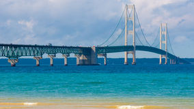 Mackinac Bridge, Colonial Michilimackinac Park, MI Stock Photo