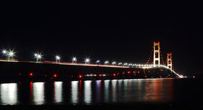 Mackinac Bridge at Night Stock Photos