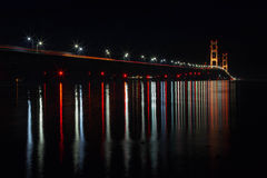 Mackinac Bridge at Night in Northern Michigan. USA Royalty Free Stock Photo