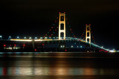 Mackinac Bridge at Night in Michigan Royalty Free Stock Image