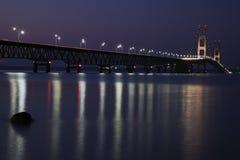 Mackinac Bridge night time Stock Images