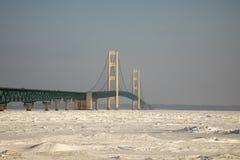 Mackinac Bridge, Mackinac City, Michigan in winter Stock Photos