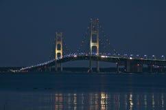 Mackinac Bridge from St. Ignace Michigan at Night Stock Photos