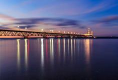 Mackinac Bridge in Twilight Stock Photos