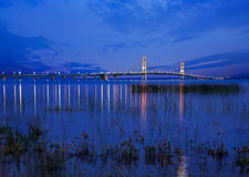 Mackinac Bridge in Twilight royalty free stock photos