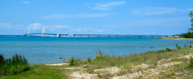 Mackinac Bridge View From Southwest. Mackinac Bridge view in afternoon from the beach in Mackinac City, MI Stock Photos