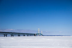 Mackinac Bridge In The Winter Stock Photo