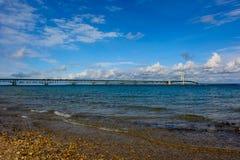 Mackinac bro i övrehalvö av Michigan Fotografering för Bildbyråer