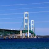Mackinac bro, Mackinaw stad Michigan Arkivfoto