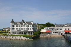 Mackinac Inn. White inn by harbor at Mackinac Island stock photo
