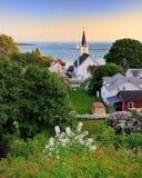 Mackinac Insel-Hafenansichtsonnenuntergang Stockfotos