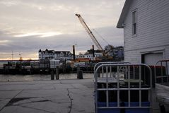 Mackinac Island Construction. Repairing a pier and building new structures on Mackinac Island November 2017 royalty free stock photography