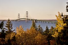 Mackinaw City Bridge Michigan Stock Image