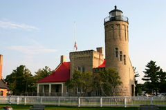 Mackinaw City Lighthouse. This is the lighthouse at the northern part of the lower peninsula of Michigan, guarding the shores where Lake Michigan and Lake Huron Royalty Free Stock Photo