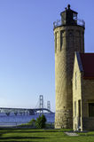 Mackinaw City Lighthouse and Mackinac Bridge Royalty Free Stock Image