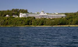 Grand Hotel On Mackinaw Island Michigan. Mackinaw Island, Michigan, USA - July 8, 2015: The world famous Grand Hotel on Mackinac Island has been welcoming Stock Image