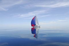 Mackinaw Race. Race boat gently ghosting her way towards the straits of Mackinaw Stock Photo