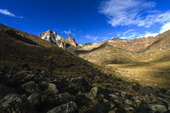Mackinder Valley, Mount Kenya. Beautiful play of light in the high altitude rugged landscape of Mount Kenya Royalty Free Stock Image