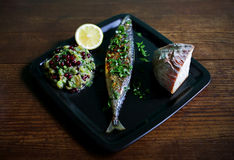 Mackrel grilled with eggplant puree and pommgranate Stock Photography