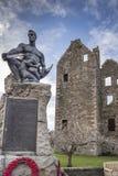 Maclellan`s Castle & War Memorial in Scotland. Maclellan`s Castle & War Memorial in Kirkcudbright in Scotland stock photography