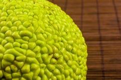 maclura pomifera,哇洒琪橘,马苹果,喉绿色果子在竹席子增长 免版税库存照片