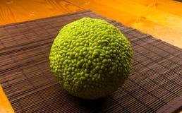 maclura pomifera,哇洒琪橘,马苹果,喉绿色果子在竹席子增长 免版税库存图片