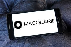 Macquarie financial services Group logo. Logo of Macquarie Group on samsung mobile. Macquarie is a global investment banking and diversified financial services Stock Photography