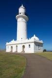 Macquarie latarnia morska - zamyka w górę pochylonego widoku, Nowe południowe walie, Australia Obrazy Stock