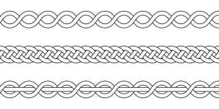 Macrame вязание крючком сплетя, узел оплетки, вектор связанные заплетенные стренги картины пересекая плетеные иллюстрация вектора