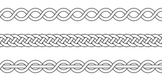 Macrame crochet weaving, braid knot, vector knitted braided pattern intersecting strands wicker Stock Image