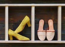 Macrame lace. Shoes of macrame lace technique Stock Images
