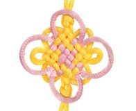 Macrame of yellow and purple lace. Royalty Free Stock Photo
